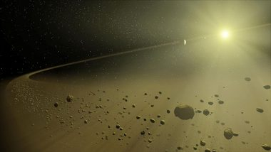 An artist's concept depicting a distant hypothetical solar system.