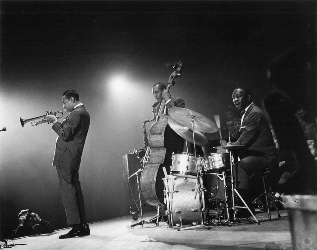 Art Blakey performing with band.