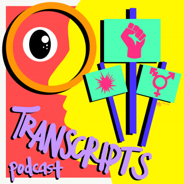 "Colorful drawing with the words ""Transcript podcast"""